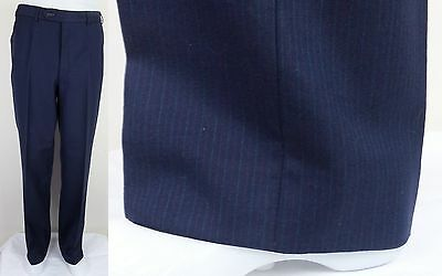 Vintage Blue Flat Front Wool Trousers With Red / White Pinstripe W30 L33 BJ76