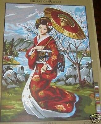 Geisha And Tree In Blossom Oriental Tapestry Needlepoint Canvas Collection D'Art