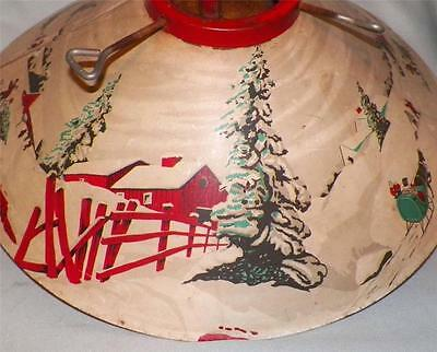 Vintage Christmas Tree Stand Horse Sleigh Barn Snow Lithograph 1950s Awesome