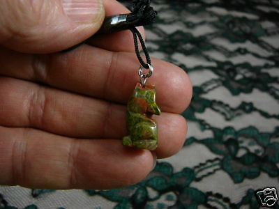 (an-coy-8) Coyote GREEN wolf dog carving Pendant NECKLACE FIGURINE