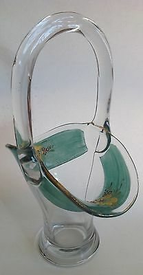 Hand Painted Clear Art  Glass Basket
