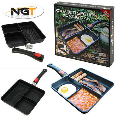 NGT 3 Way/Section Non Stick Frying Pan for Perfect Breakfasts when Carp Fishing!