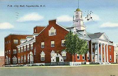 Fayetteville North Carolina City Hall Linen Postcard Mailed 1947