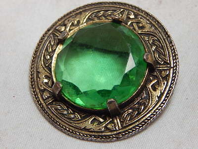 Vintage Gold Coloured Brooch With Large Green Faceted Glass Centre