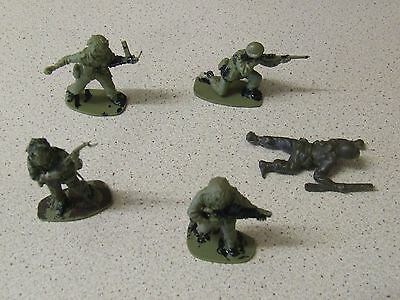 Small Selection of Vintage Partially Painted Green Plastic Toy Soldiers