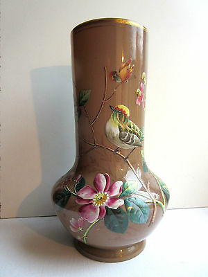 French vase Napoleon III, opaline chocolate enameled flowers, bird and butterfly