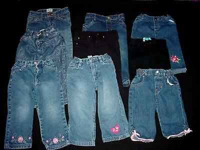 Used Baby Girl Bottom Pants Denim Jeans 24/2T Months Clothes Lot
