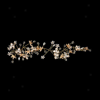 Pearl Crystal Wedding Hair Vine Bridal Hair Accessories Headband Gold Tone
