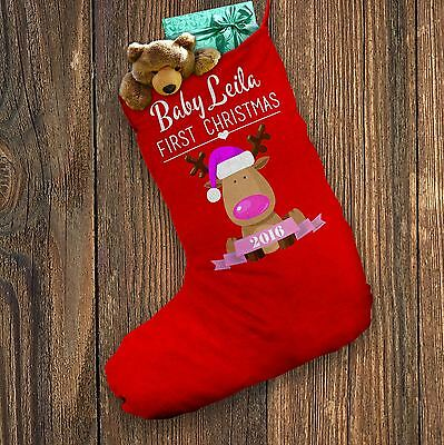 Personalised Santa Stocking Baby's First Christmas Pink Red