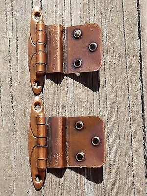 2 Vintage 1957 Mid Century AJAX Copper Offset Kitchen Cabinet Hinges