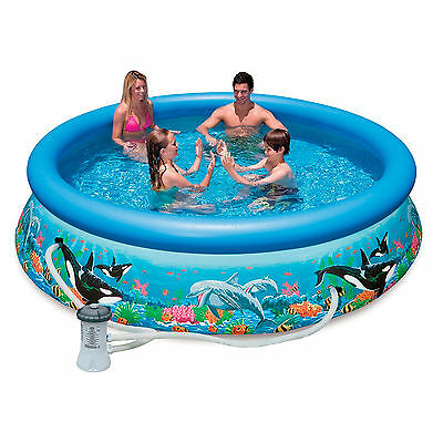 Intex Ocean Reef Swimming Pool with Filter Pump 30in Deep choice of 10ft or 12ft