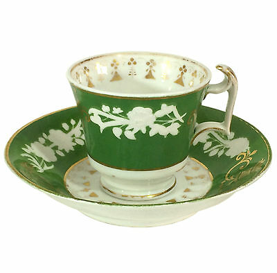 c1850 Early Copeland (Spode) Cup & Saucer - Raised white on green ground