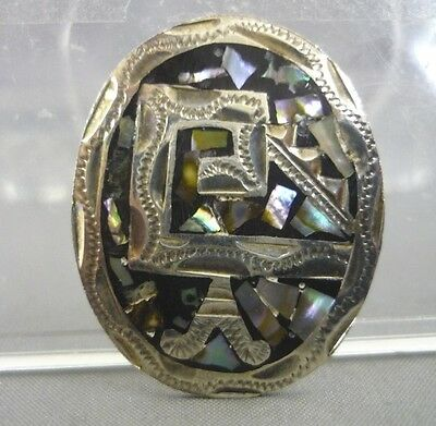 925 Sterling Silver Abalone Aztec Design Oval Brooch Pin Jewelry