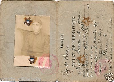 Romania ID Card Military Battery of Howitzer 1931