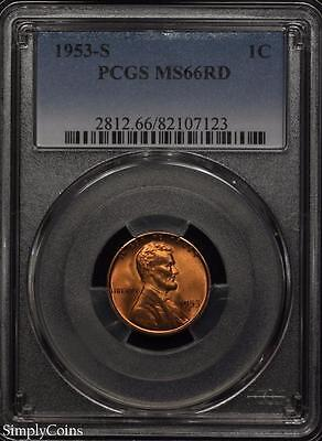 1953-S Lincoln Wheat Penny Cent 1c ~ PCGS MS66 RED ~ STUNNING!