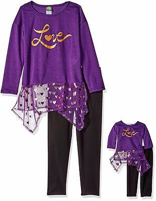 """NEW Girls """"PURPLE GOLD LOVE"""" Dollie & Me Size 7 Tunic Sweater Top Leggings NWT"""