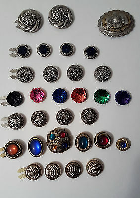 Lot 31 Button Covers Gold & Silver Tone Sequins Jewels Sets