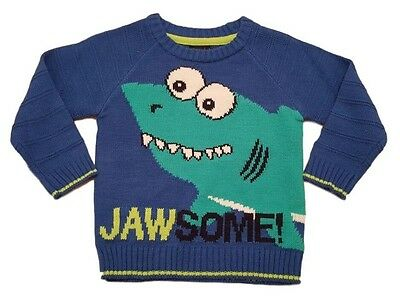 Boys Kids Ex Ne/xt Jumper Sweater Winter Warm Knit Sharks JAWSOME
