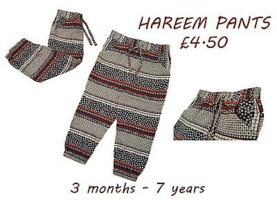 Girls Kids Baby Hareem Pants Trousers Harem Leggings Thai Festival 3m-7y