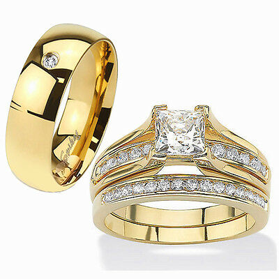 HIS Hers 3 Piece 14K Gold Plated Stainless Steel CZ Wedding Ring