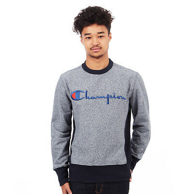 Champion - Jaspe Reverse Weave Terry Crewneck Sweater Navy Pullover Rundhals