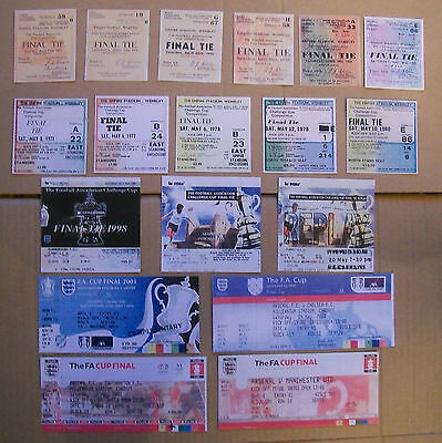 All 20 Arsenal F.A. Cup final tickets complete set 1927 - 2015 mint con. repro's