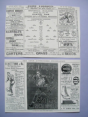 1896 FA Cup final programme Sheffield Wednesday v Wolves in mint condition.Repro