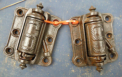 Set of 2 Antique Stover Mfg Co Spring Loaded Case Iron Hinges (discounted 50%)