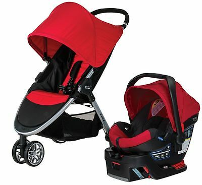 Britax B-AGILE 3 Travel System Stroller w B-SAFE 35 Infant Car Seat Red NEW 2017