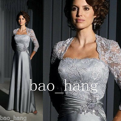 Pewter Lace Mother of the Bride Dresses Long Sleeve Evening Party Gowns Custom