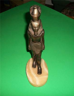 Antique Brass Egyptian Pharaoh Statue On Marble Base