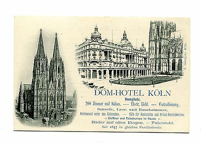 Vintage Advertising Card DOM HOTEL KOLN Germany illustrated