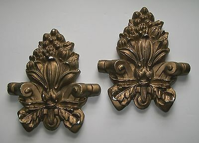 French Fleur-de-lis worn gold wall plaques Architectural Details