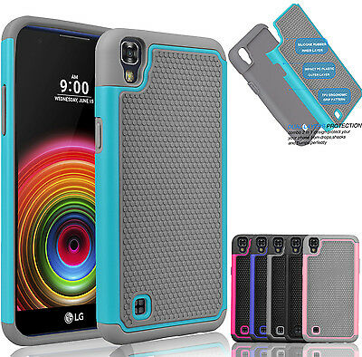 For LG X Power Hybrid Shockproof Rugged Rubber Armor Impact Hard Case Cover Skin