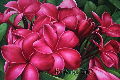 MODERN ABSTRACT Plumeria Flowers OIL PAINTING Canvas Hand Painted Art Decor plu5