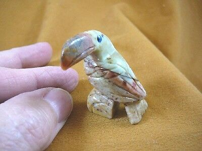 y-bir-to-22) little red tan Toucan tropical bird soapstone carving love toucans