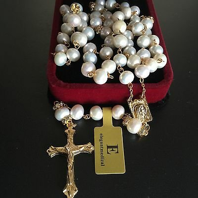Catholic Glod 8Mm Real Pearl Beads Necklace 5 Decade Rosary & Cross Crucifix Box