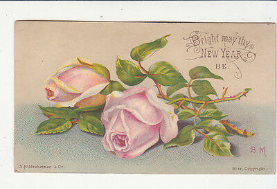 Bright May Thy New Year Be Pink Roses Hildesheimer Vict Card c 1880s