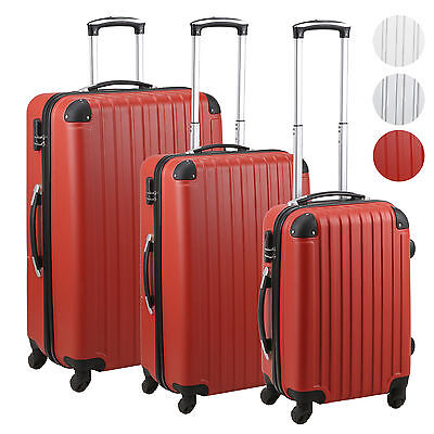 Set of 3 Piece Travel Luggage Wheel Trolleys Suitcase Bag Hard Shell Cabin Hand