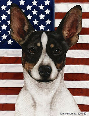 Garden Indoor/Outdoor Patriotic II Flag - Rat Terrier (Tri) 323241