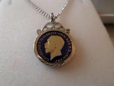 Vintage Silver Enamelled Three Pence Coin Pendant & Necklace. Christmas Presents