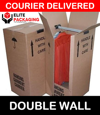 1 Large Double Strong Removal Moving Wardrobe Cardboard Boxes With Hanging Rails