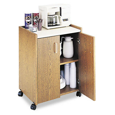 Safeco Mobile Refreshment Center, 1-Shelf, 23x18x31, Medium Oak, White SAF8953MO