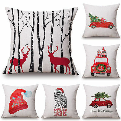 Merry Christmas Cotton Linen Bed Car Sofa Home Decor Pillow Case Cushion Cover