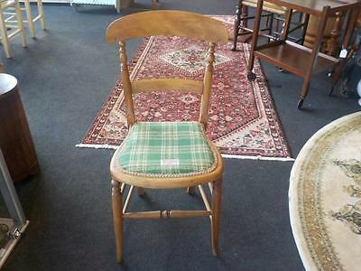 Vintage Lovely Pine Kitchen  Chair Hand Woven Seat Harris Tweed Label & Fabric