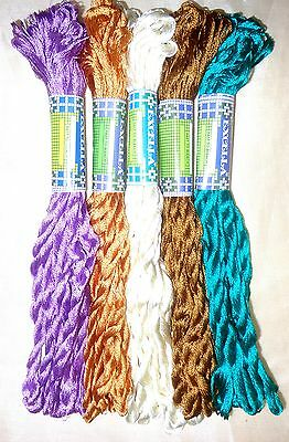 SILK EMBROIDERY THREAD 5 SKEINS 400 mts Hot Fast Washable Art S9 Colors #34TX1