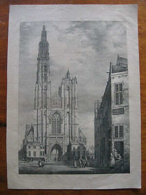 Lithographie v TS Cooper: Kathedrale Antwerpen 1828/Lithograph Cathedral Antwerp