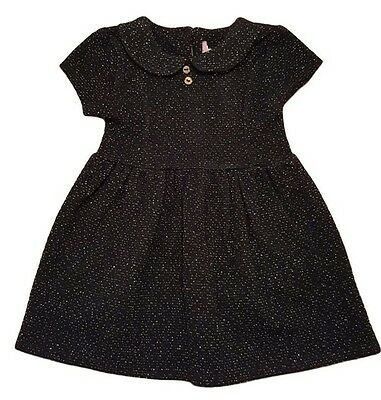 Girls Kids Baby Dress Outfit Sparkle Black Smart Wedding Peter Pan Collar 3m-7y