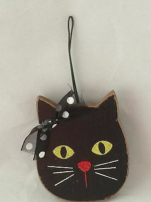 Wooden Black Cat Halloween Ornament by Ganz Retired Line NEW