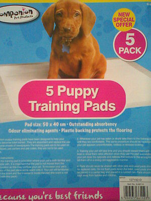 Outstanding Absorbency 5 x PUPPY TRAINING PADS. Toilet Trainer 50 x 40cm